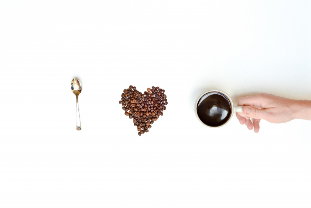 I Love Coffee Concept With Mans Hand, cup and beans