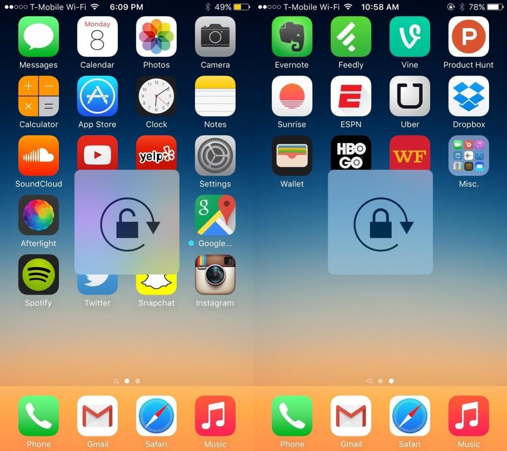 iOS9画面回転ロックのHUD