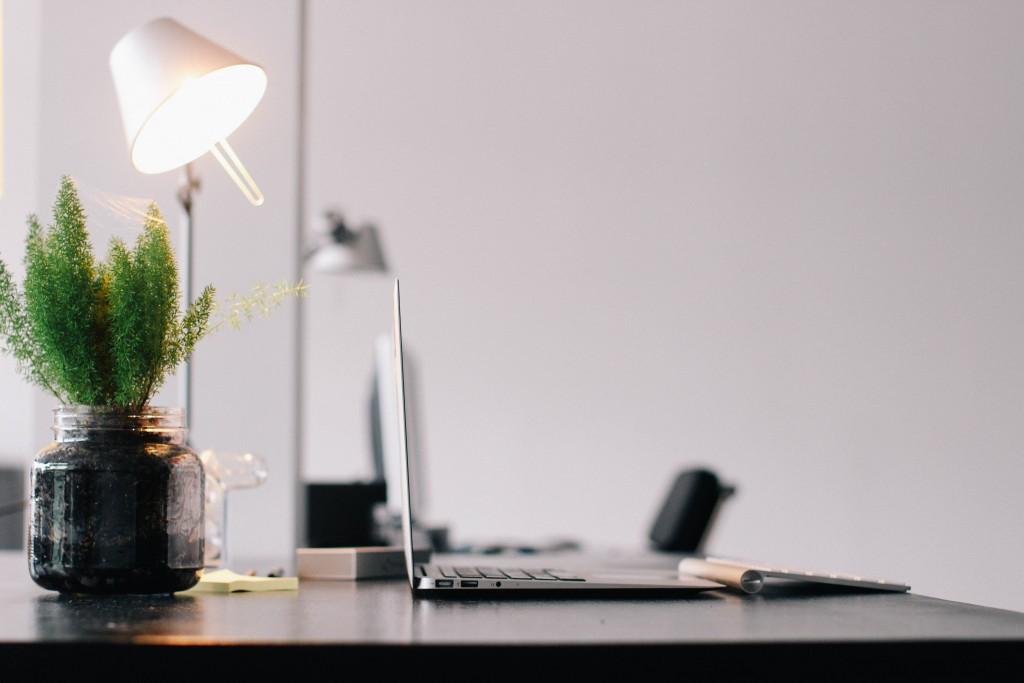 computer, desk, home, office, macbook, air, table, plant, lamp, workspace, keyboard, working