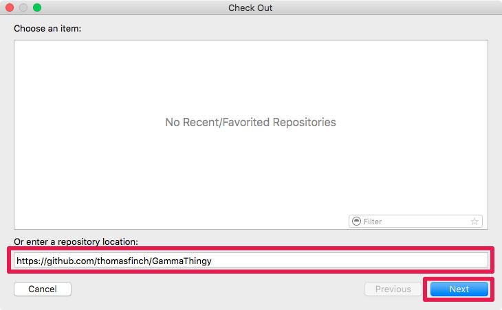 Xcodeのrepository location