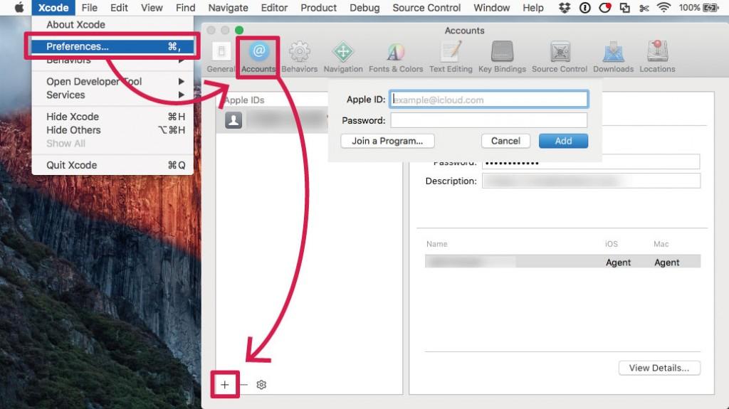 XcodeにApple IDを追加する