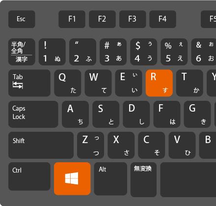 Windows+Rキーでファイル名を指定して実行を開く