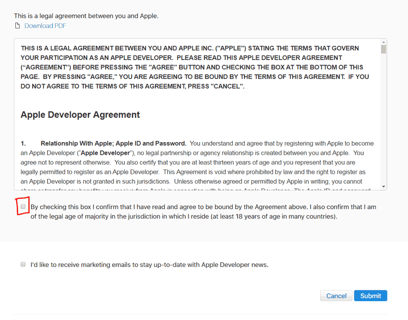 Apple Developer Agreement