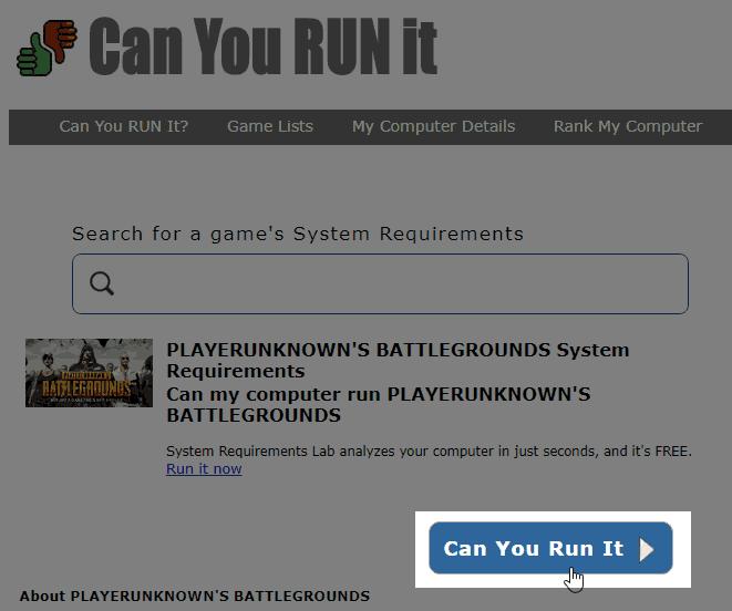 Can You Run Itボタンをクリック