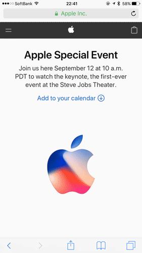 SafariでAppleイベントを視聴