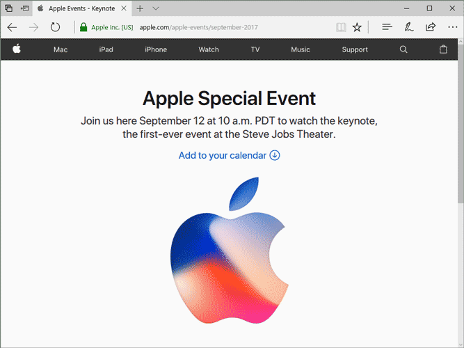 Microsoft EdgeでAppleイベントを視聴