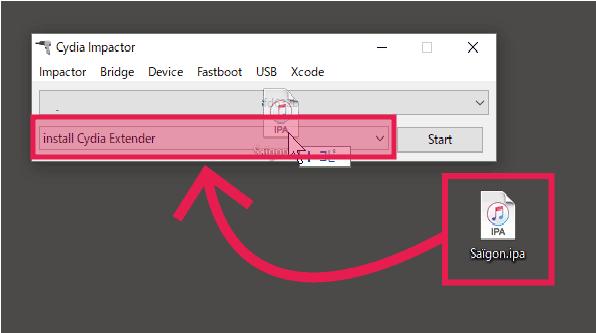 Saigon.ipaをCydia Impactorにドロップ
