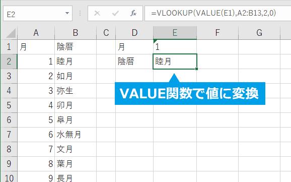 VALUE関数で値に変更