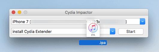 macのCydia ImpactorにIPAをドロップ